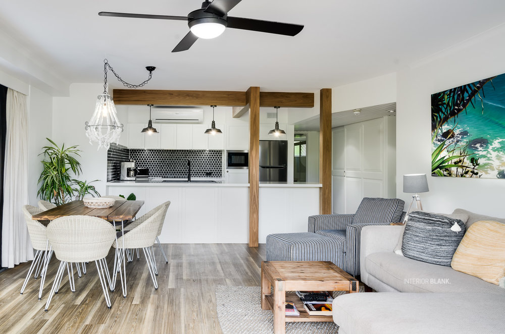 .An apartment renovation for an AIRBNB Apartment in Byron Bay, Northern NSW. See the before and after photos of this kitchen.