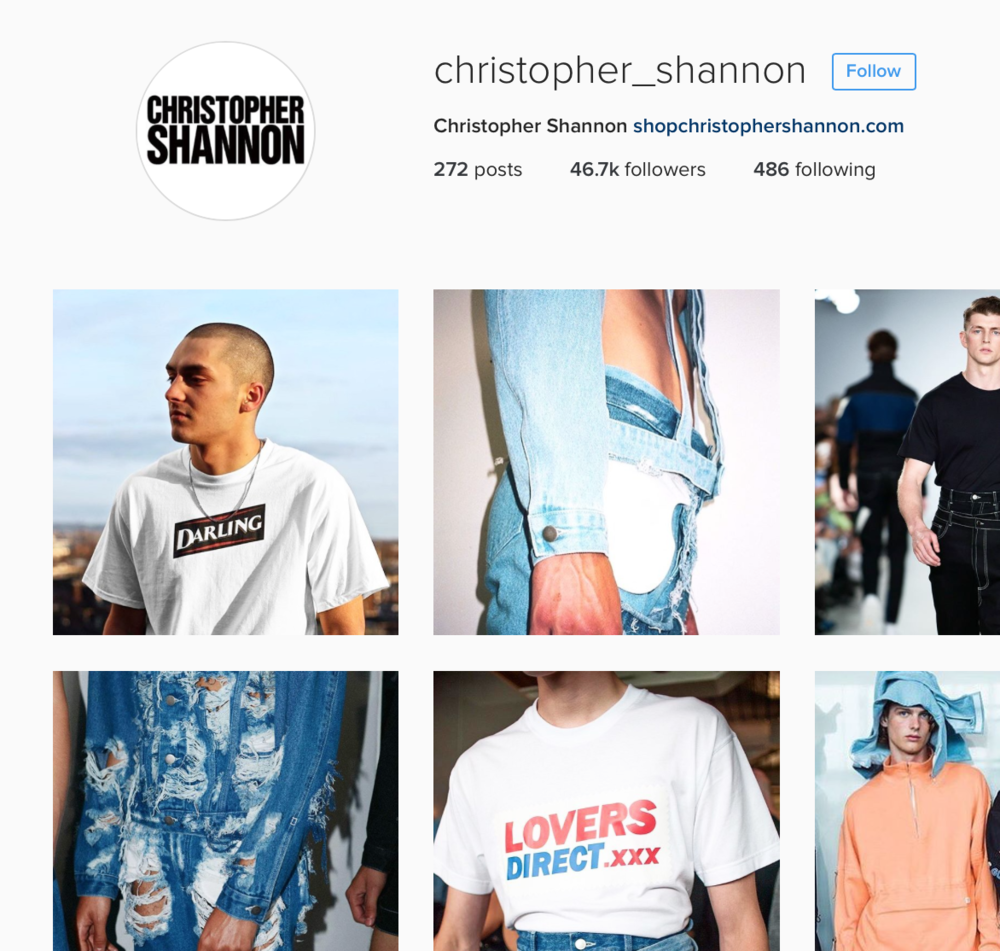 Regram by Christopher Shannon of our Darling t-shirt. Check out Christopher's Instagram  here .