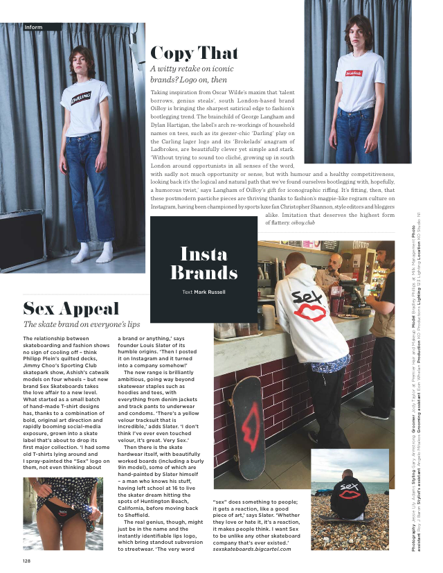 Proud to be featured within  British GQ Style magazine  for AW16. Model is wearing Brokelads and Darling tees.