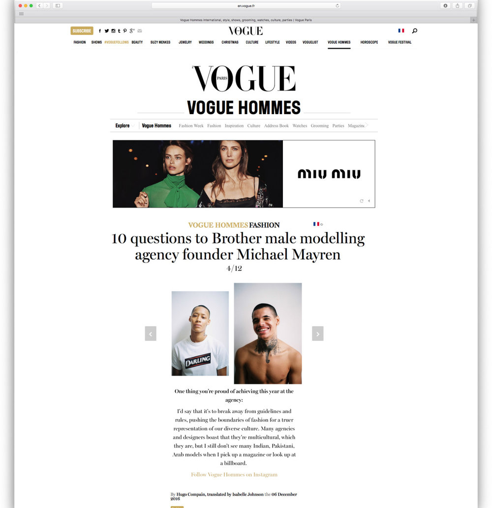 Our Darling t-shirt was featured on the  Vogue Hommes  website as part of the article ' 10 Questions to Brother male modelling agency founder Michael Mayren '.  Brother Models  /  Michael Mayren  (photographer & founder of Brother).