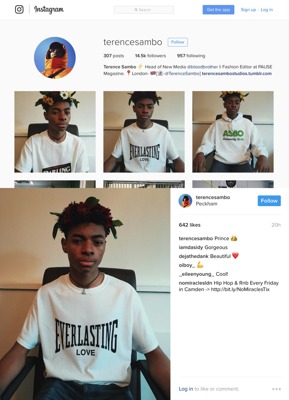 Fashion Editor at PAUSE Magazine and Blood Brother's Head of New Media the talented Terence Sambo uploaded 3 of our pieces to his Instagram and Tumblr pages.