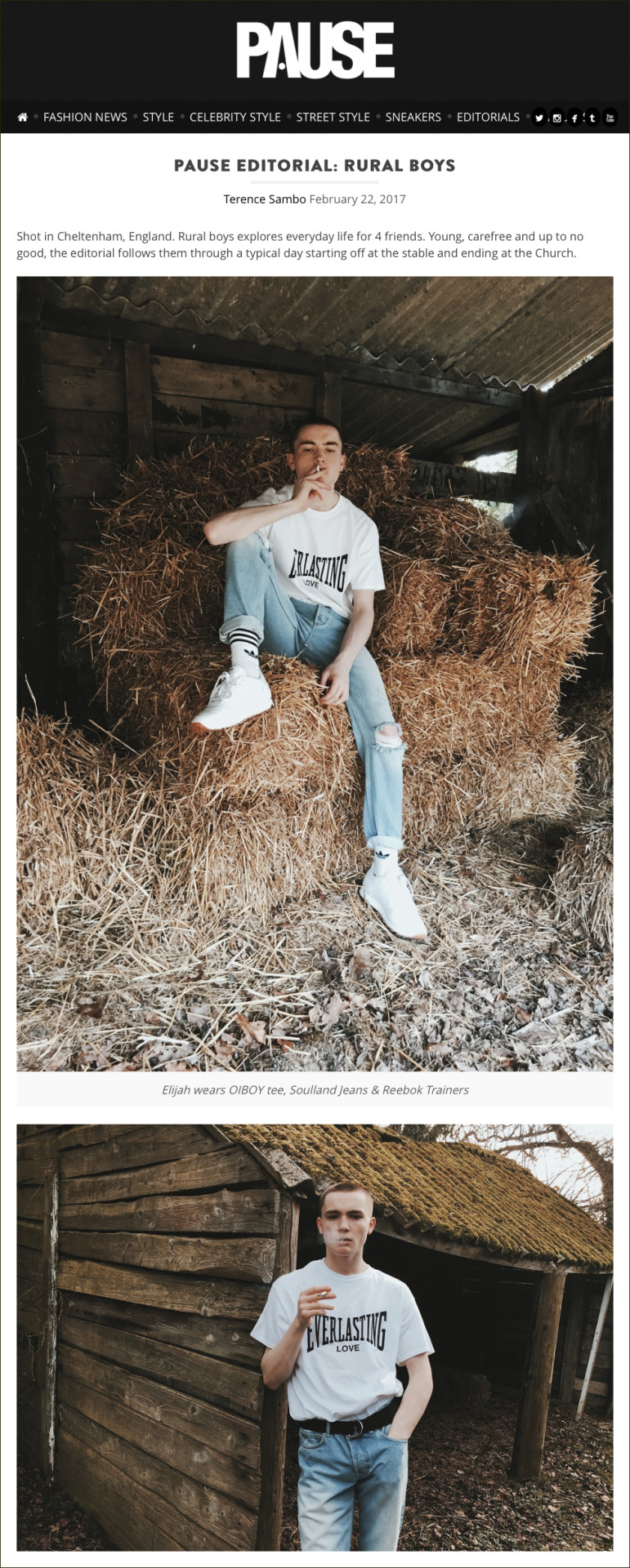 PAUSE Magazine  shoot for an online editorial called ' Rural Boys ', featuring the OIBOY  Everlasting Love  t-shirt.  Creative Direction, Styling & Photography:  Terence Sambo  Fashion Assistant:  Daniel Foreshaw  Grooming & Hair:  Lash Vanegro  Model:  Elija Horne