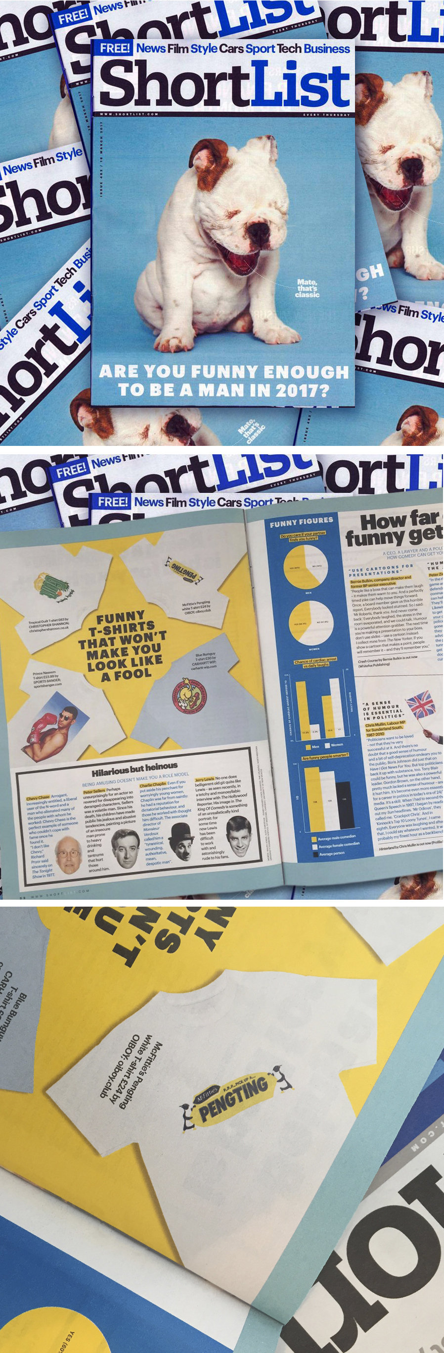 OUR MCFITTIE's PENGTING T-SHIRT WAS FEATURED IN THIS WEEK'S SHORTLIST PRINT MAGAZINE (ISSUE 462 / 16TH MARCH 2017) ALONG SIDE CHRISTOPHER SHANNON, SPORTS BANGER AND CARHARTT.