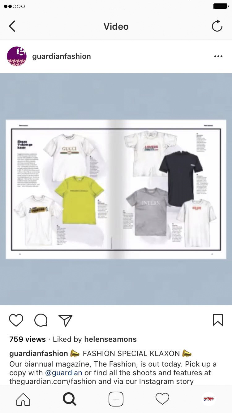 THIS IS THE GUARDIAN | OBSERVER FASHION MAGAZINE INSTAGRAM PREVIEW OF THEIR PRINT MAGAZINE FEATURING OUR PENGTING TEE.