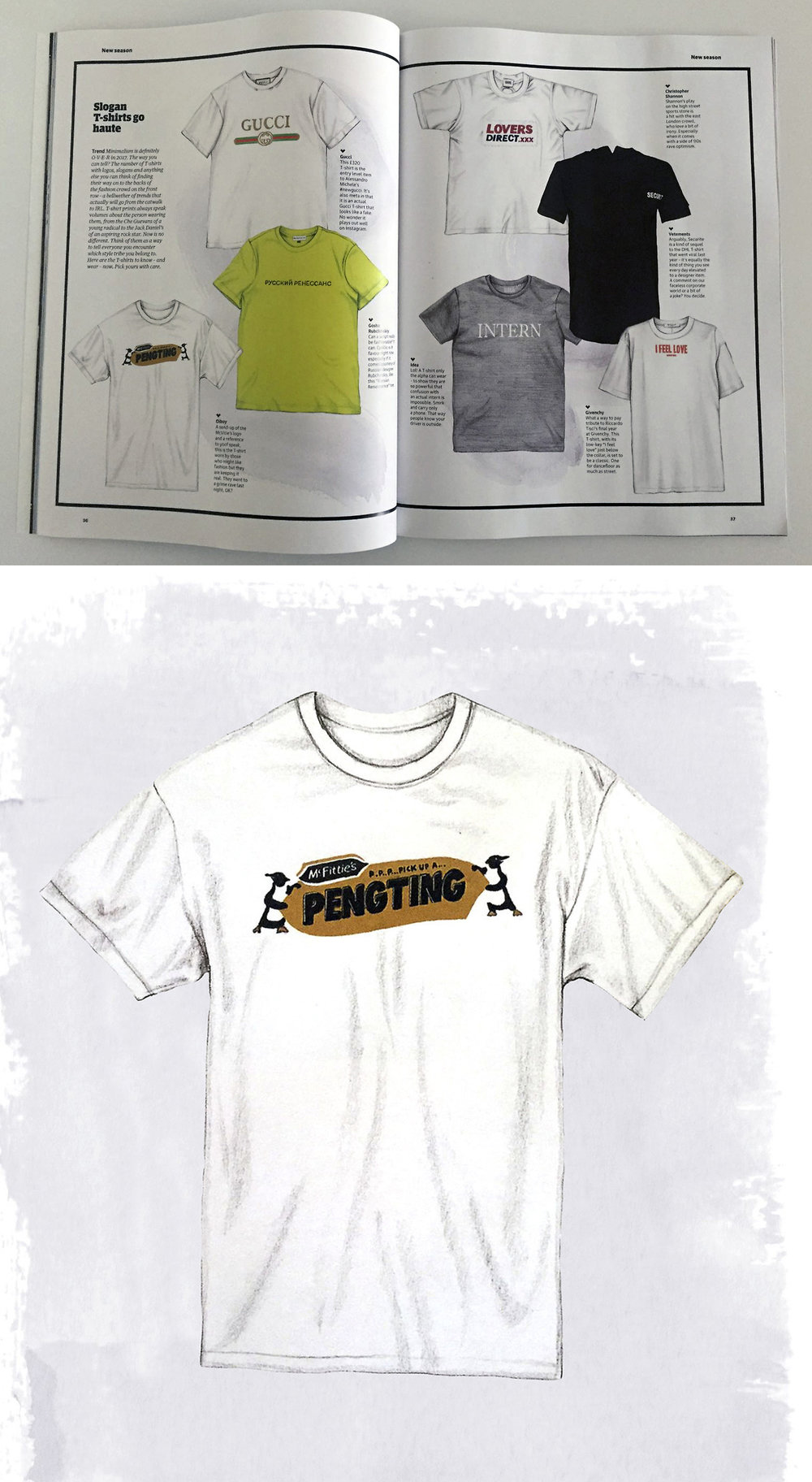 OUR #PENGTING TEE IN THE BIANNUAL @GUARDIANFASHION MAGAZINE OUT TODAY WITH THE LIKES OF #GUCCI #GOSHARUBCHINSKIY #IDEA #GIVENCHY #VETEMENTS & @CHRISTOPHER_SHANNON AND #OIBOY
