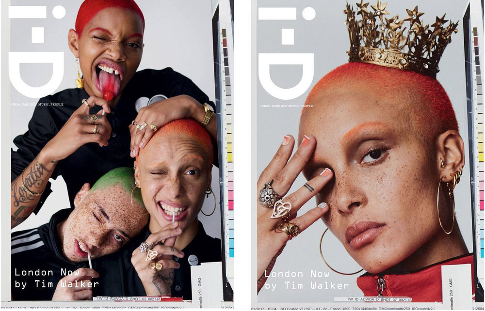 We are having clothing featured within i-D Magazine (issue 348). model Adwoa Aboah teams up with Slick Woods and Elliott Jay Brown for the cover of i-D Magazine's Summer 2017 The Creativity edition lensed by fashion photographer Tim Walker. In charge of styling was Judy Blame, with fashion direction from Alastair McKimm.