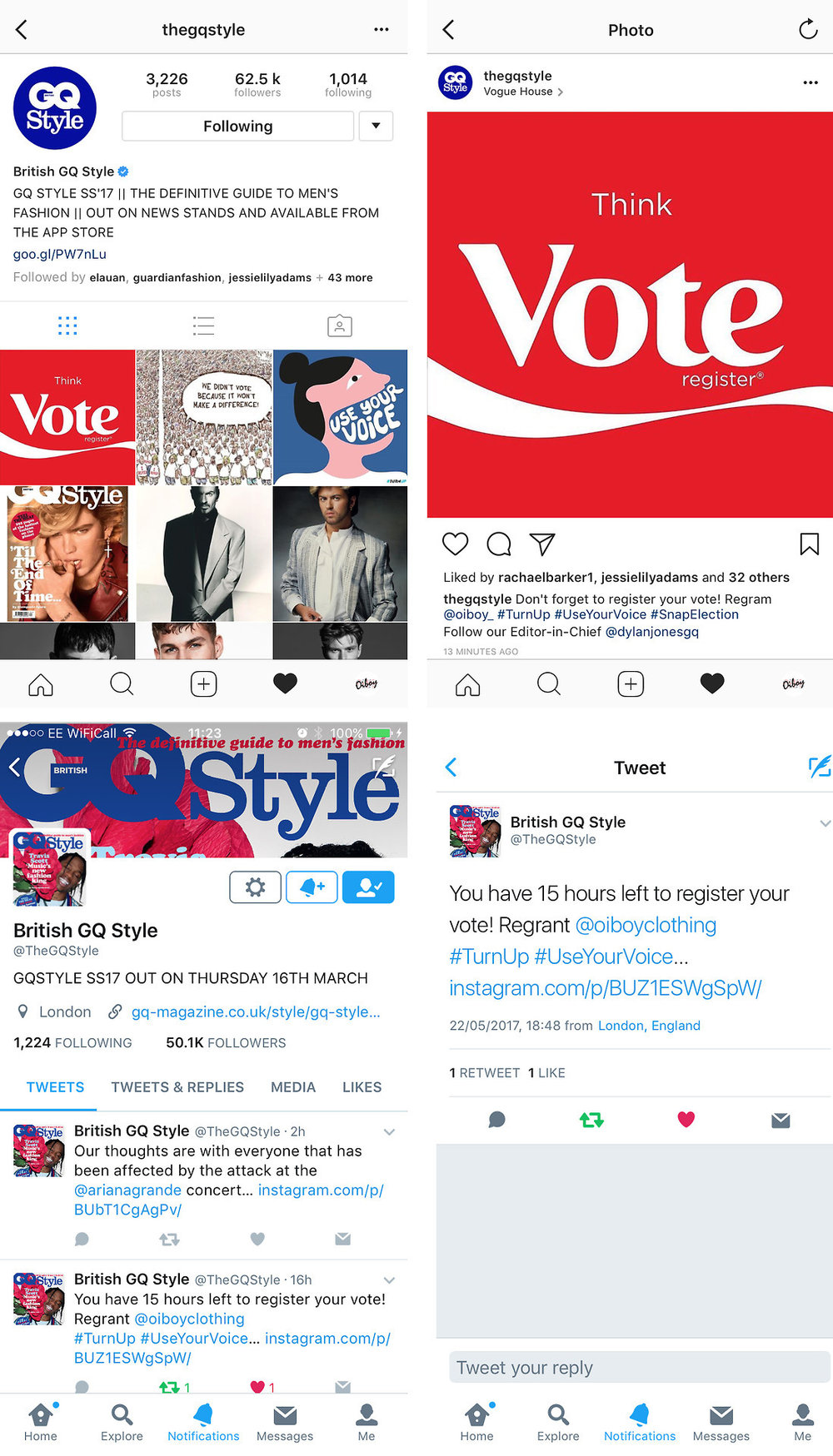 WE MADE UK GENERAL ELECTION VOTE SOCIAL MEDIA POSTS, WHICH WERE RETWEETED AND RE-GRAMMED BY BRITISH GQ STYLE MAGAZINE'S SOCIAL ACCOUNTS.