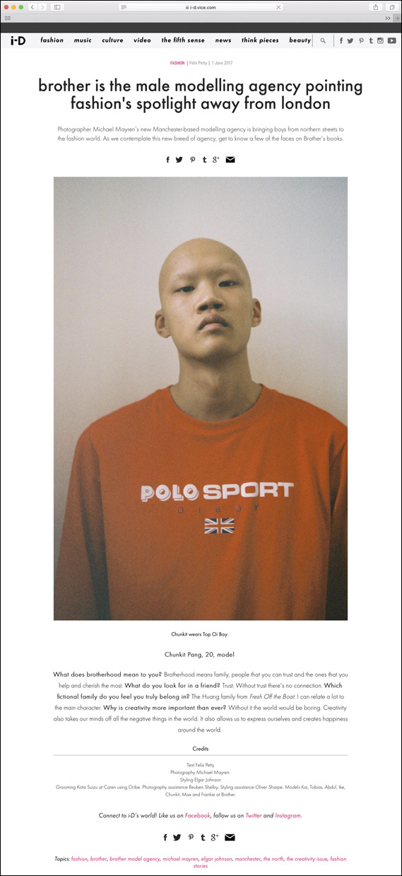 WE'RE IN i-D MAGAZINE'S ONLINE FEATURE: 'Brother is the male modelling agency pointing fashion's spotlight away from London' - BIG UP @michaelmayren OF @brothermodels AND @elgarjohnson & @olliversharp.  Model:  Chunkit