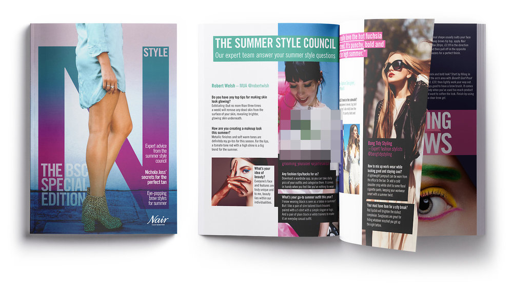 ONE OF Our Brits Abroad t-shirts was featured within NAIR's Style BSC Magazine article 'The Summer Style Council Our Expert Team Answer Your Summer Style Questions'. Magazine created by  Therapy Agency  London.