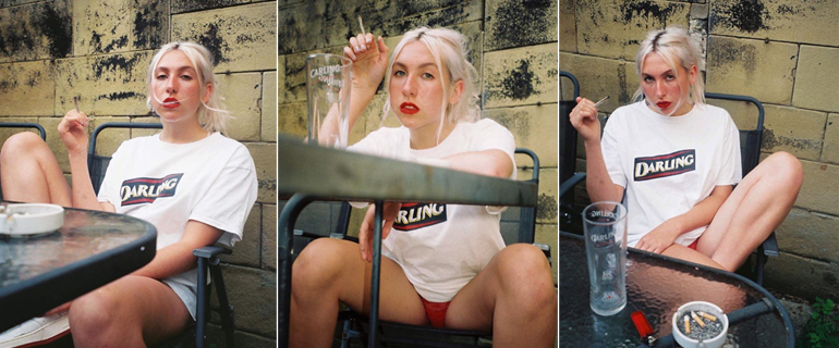 Photographer  Ruby Don  photographed  Amelia Lace  in OIBOY DARLING tee, on 35mm Film. See more of the shoot on  Ruby's Instagram page.