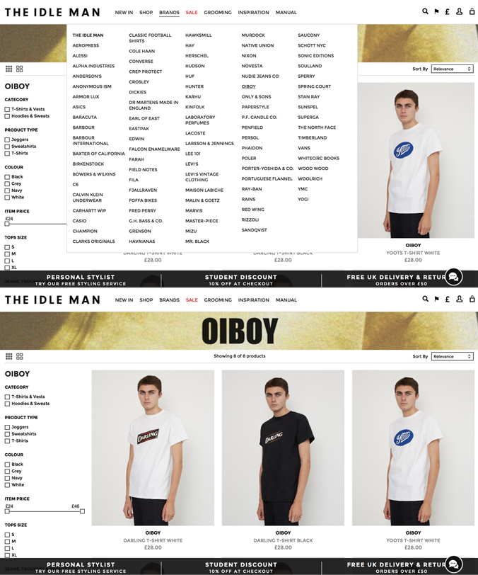 WE ARE PLEASED TO ANNOUNCE THAT OIBOY IS NOW AVAILABLE ON  THE IDLE MAN  WEBSITE. THEY WILL BE STOCKING LIMITED EDITON AND EXCLUSIVE PIECES.