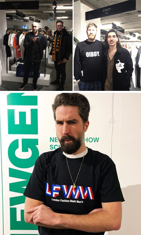 Great to have people visit us at LFWM's, these include are long time friends Blood Brothers James Waller and Nicolas Biela, who put on a great catwalk show. Jack Guinness, who's been a long time wearer of Oiboy and Hector Bellerin from Arsenal F.C. to name a few.