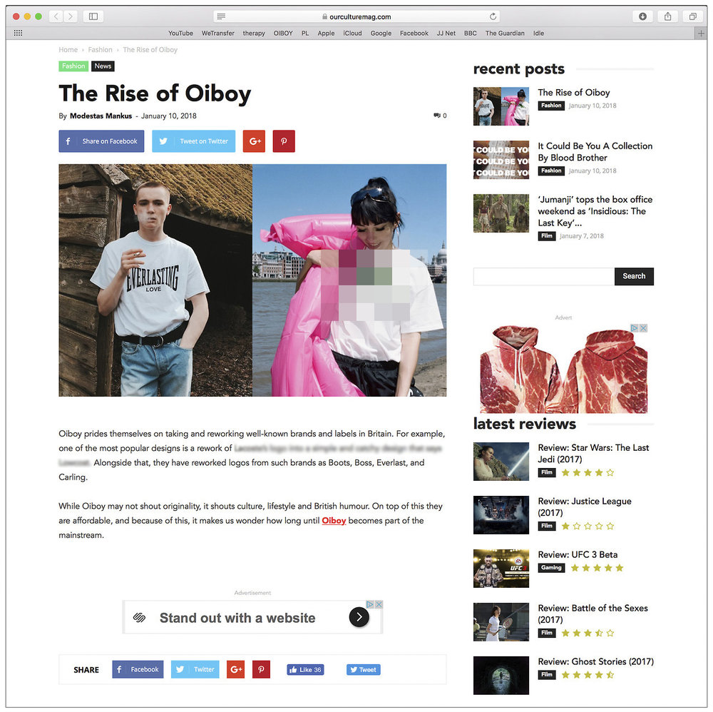 "'The Rise of OIBOY' By Modestas Mankus for OUR CULTURE MAG: ""With the world of Fashion engaging with the power of online shopping, a nifty and exciting brand Oiboy has emerged"". Read the whole article here:   https://ourculturemag.com/2018/01/10/the-rise-of-oiboy/"