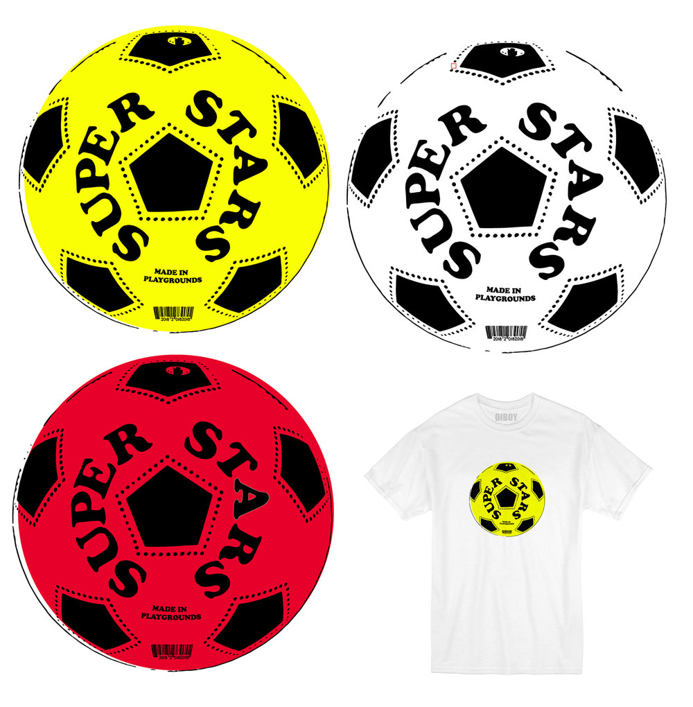 'SUPER STARS MADE IN PLAYGROUNDS' WORLD CUP 2018 LIMITED EDITION T-SHIRTS, come in 3COLOUR OPTIONS, YELLOW, RED & WHITE.  THE DESIGN WAS BASED ON THE FOOTBALLS THAT MADE US INTO RONALDO OR MESSI IN THE PLAYGROUND, ALLOWING YOU TO BEND THE BALL INTO THE TOP CORNER, ALL FOR THE PRICE OF £19.66 TO CELEBRATE THE YEAR ENGLAND LAST DID ANYTHING!