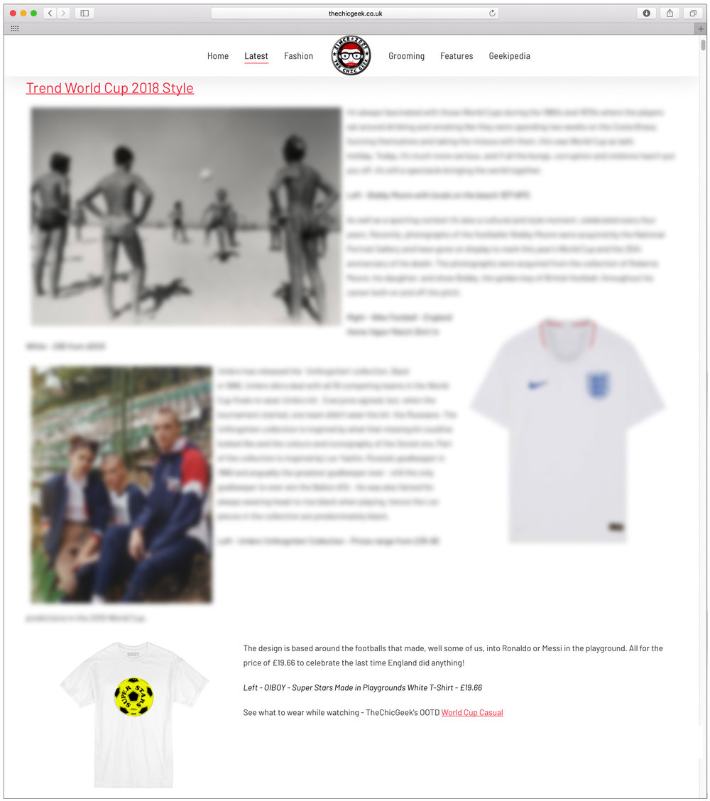 The Chic Geek featured our World Cup 2018 TEE; 'super stars - made in playgrounds' in his article 'trend World Cup styles 2018'. Read the full article here:  http://www.thechicgeek.co.uk/item/603-trend-world-cup-2018-style