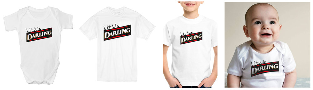 LITTLE DARLING KIDS TEE AND BABY-GROW NOW AVAILABLE! 'LITTLE' TEXT HAND WRITTEN BY KOBE AGED 4.