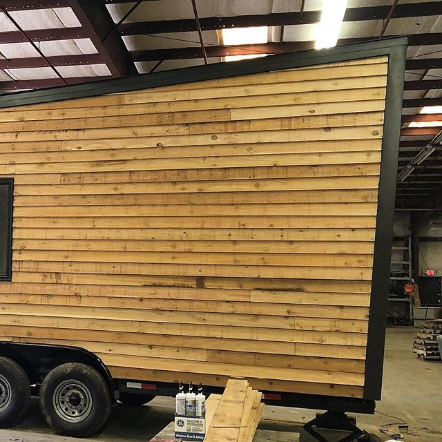 This #tinyhousegiveaway that @lamonluther is finishing up looks (and smells) great! Can't wait to see the finished product. #tinyhouse #tinyhousemovement