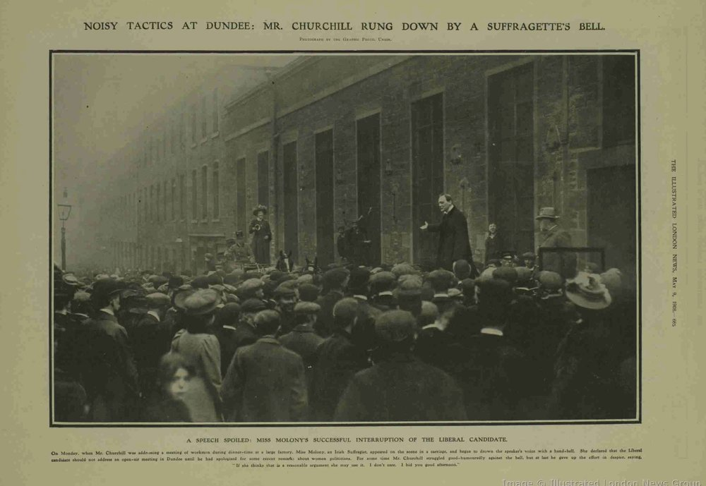 """Noisy Tactics at Dundee: Mr. Churchill Rung Down By A Suffragette's Bell"""