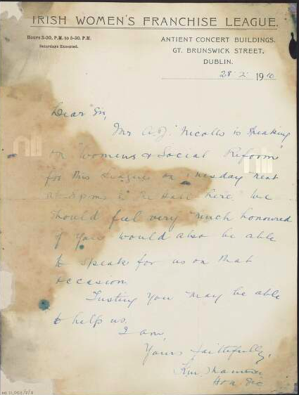 Letter from the office of the Irish Womens Franchise League in the Antient Concert Rooms to Padraig Pearse. National Library of Ireland.