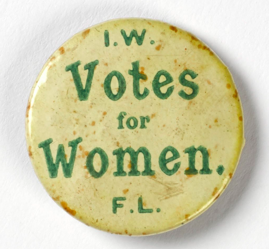 Irish Women's Franchise League badge. This is from an excellent online exhibition which was a collaboration between the Google Cultural Institute and Trinity College Dublin. Experience it at  this  link.