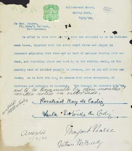 Lease between Margaret Pearse and Rosalind and Leila de Cadiz for rooms in Cullenswood House, Oakley Road, Dublin. 1929. National Library of Ireland.