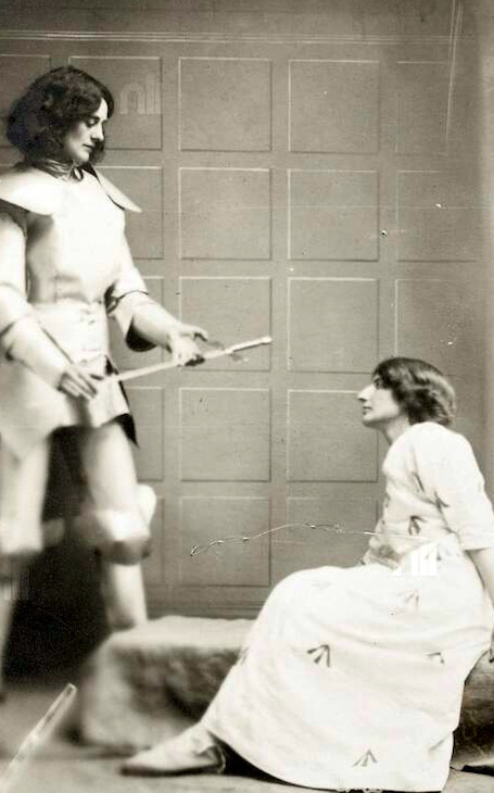 In another tableau, Joan of Arc (Constance) appeared to a modern suffragette in a prison cell (played by Kathleen Houston). National Library of Ireland.