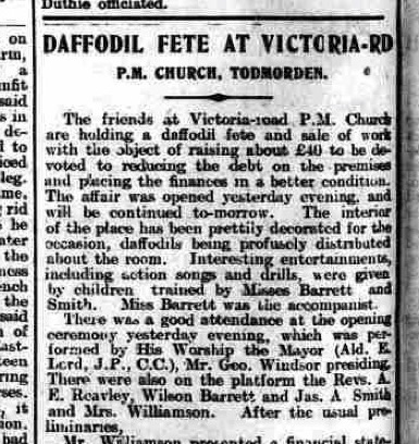 A Daffodil Fête in 1911 in West Yorkshire. Todmorden and District News.