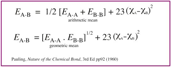 In his book  The Nature of The Chemical Bond , Pauling comments that it is more accurate to use the geometric mean rather than the arithmetic mean, but then uses the arithmetic mean himself. Other authors note this and then also use the arithmetic mean.