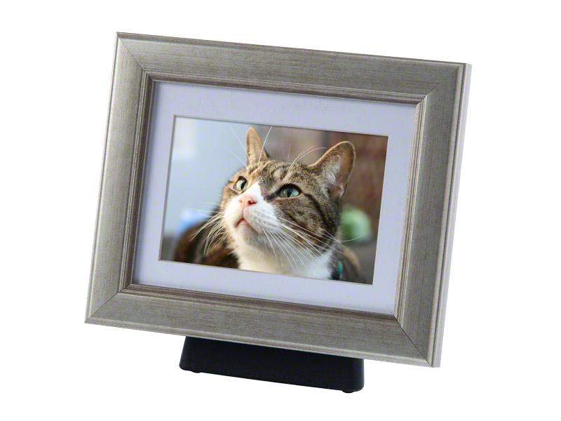 Tribute framepods   De zilveren foto lijst is met en eenvoudig magneet systeem te bevestigen aan een kunststof standaard , waarin u de as van uw huisdier kunt bewaren .  De lijst kan zowel staand als liggend worden bevestigd.  De fotolijsten zijn in de kleuren Zilver, zwart en houtkleurig en leverbaar in de maten 24x19,5 cm €122,-, 30,5x25 cm €141,- en 42x37,5 cm €179,-