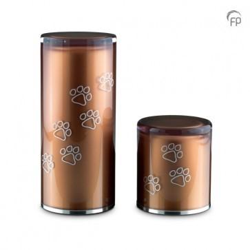GUP 085 M | GUP 085 S  Glazen urnen, bruin met dierenpootjes  GUP 085 M € 159,00 / 1.00 L / H 22 CM  GUP 085 S € 125,00 / 0.50 L / H 12 CM