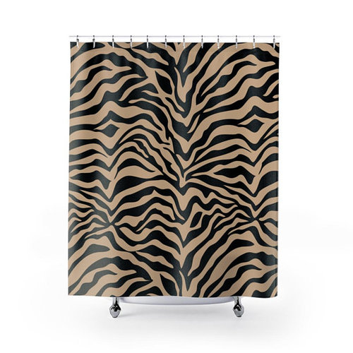 Tan Black Zebra Print Shower Curtain