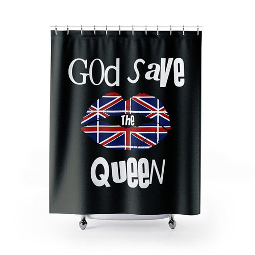 God Save The Queen Union Jack Lips Black Shower Curtain