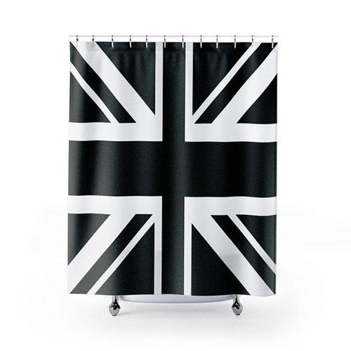 Black Union Jack Flag Shower Curtain