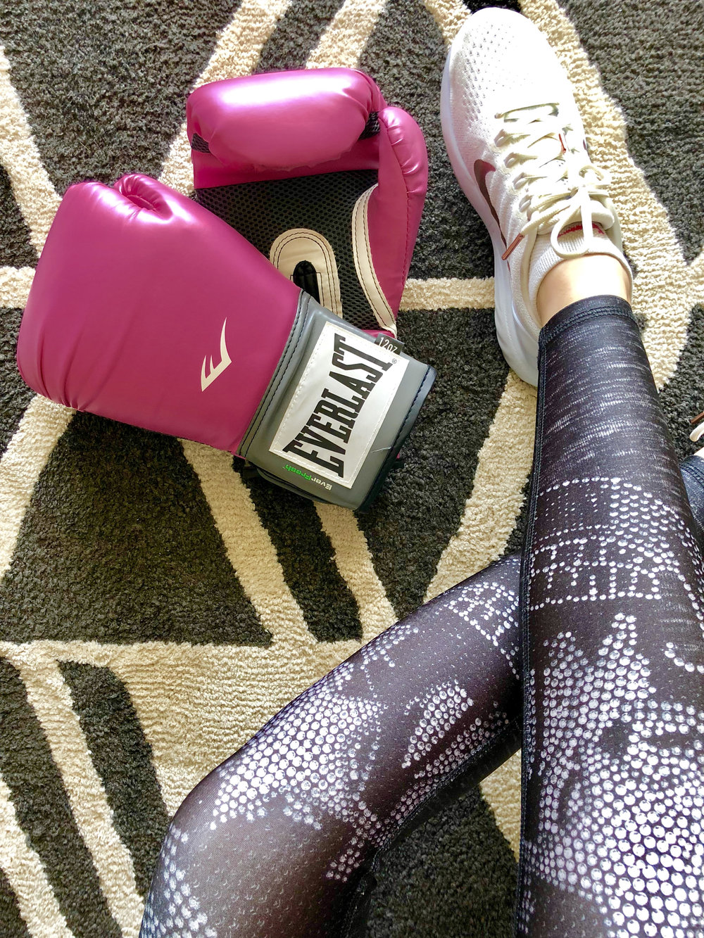 Everlast - Before my diagnosis, I was a huge boxing fan (and I can't wait to get back in the ring)! I love my Everlast Pro Style Training Gloves. I, of course, have them in pink (pictured). I also occasionally wear the pink Hand Wraps but, fair warning, they're a little thin for my taste.The best part? Everlast is a proud supporter of BCRF, donating $75,000 to the organization, regardless of sales. You can shop pink all year long and learn more about Everlast's support here.P.S. How cute are my leggings? They're Terez, one of my favorites!