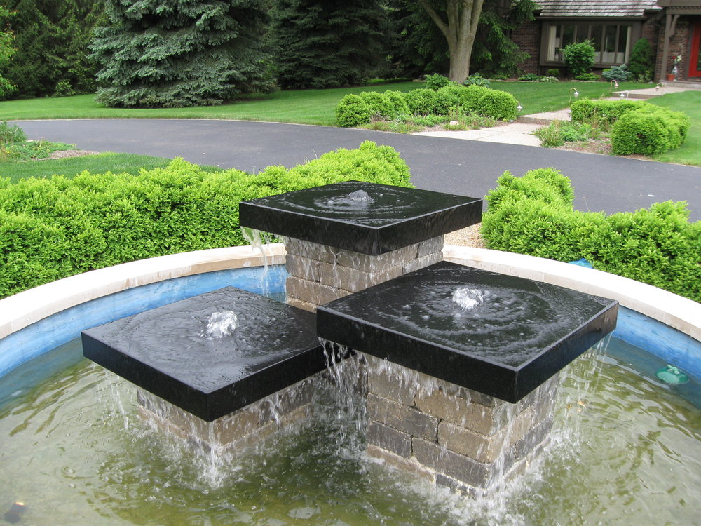 Black Granite Stone Fountain 2