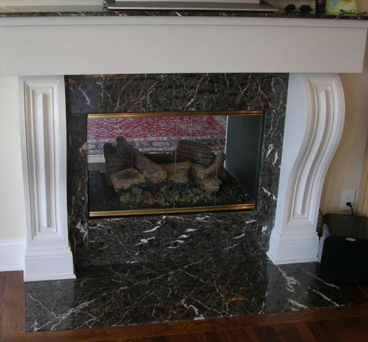 Dark Granite Fireplace