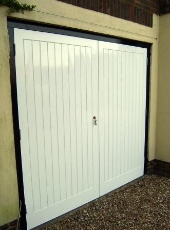 Traditionally built garage doors.