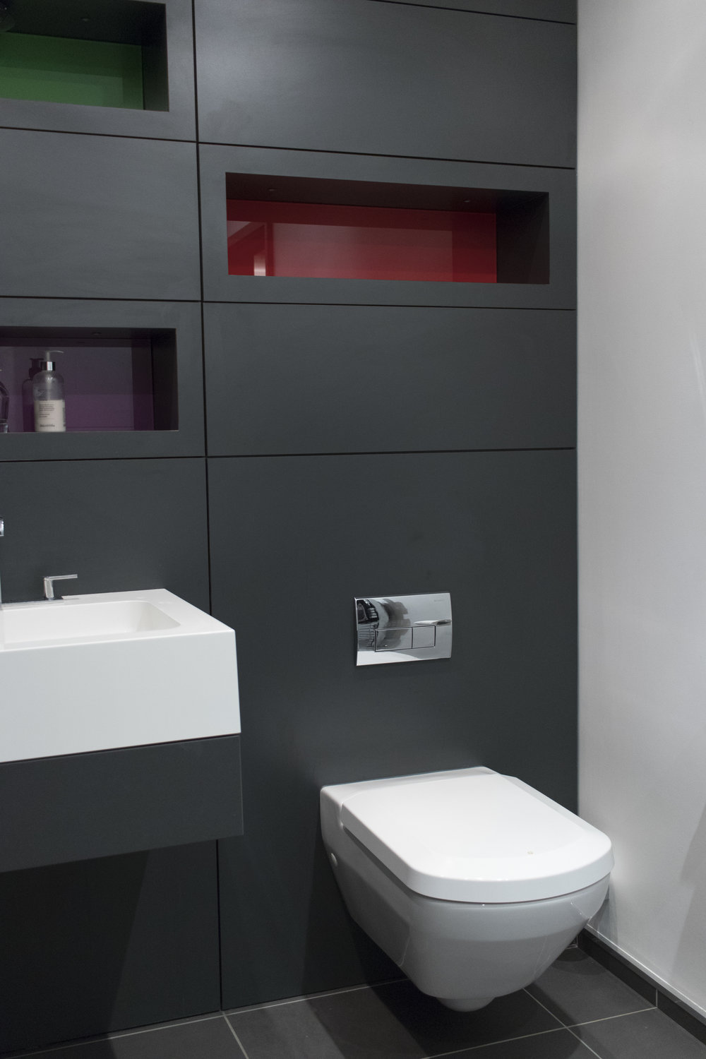 Precision - The panelling and shelves within this bathroom were made precisely to fit the space.