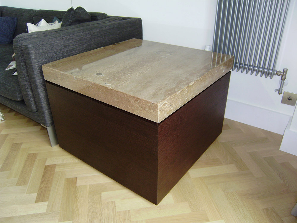 Contemporary - This table is made from a timber called Wenge. It was made specifically to carry the marble top shown in these photos.