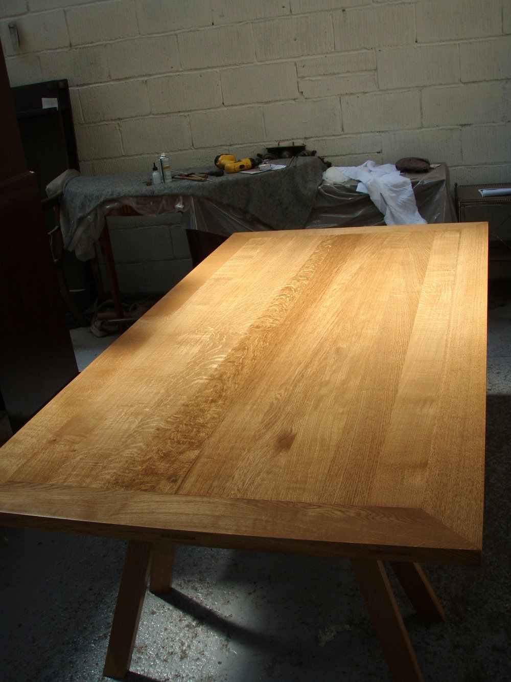 Pattern Makers Table - Based on a workshop bench, this table is made from solid oak with a shellac finish.