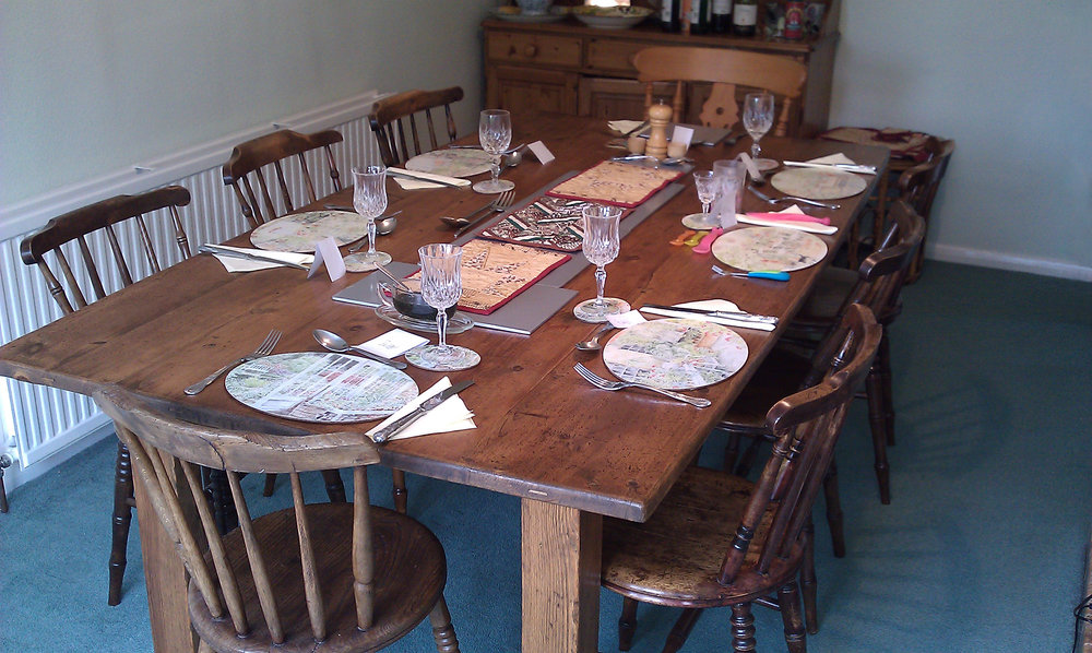Period Style Table - The bulk of this table was made from reclaimed church pews in pine. The chairs, a mixed set, were polished up to match.