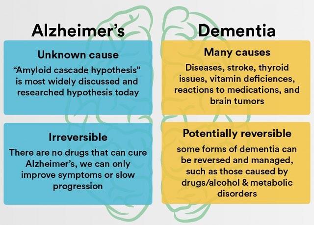 Here's the difference between Alzheimer's and Dementia. . . . #alzheimersawareness #alzheimersassociation #dementia #dementiacare #aging