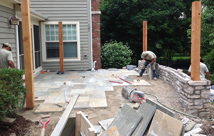 The curved sitting wall and pillars will have full range Bluestone coping to match the patio.