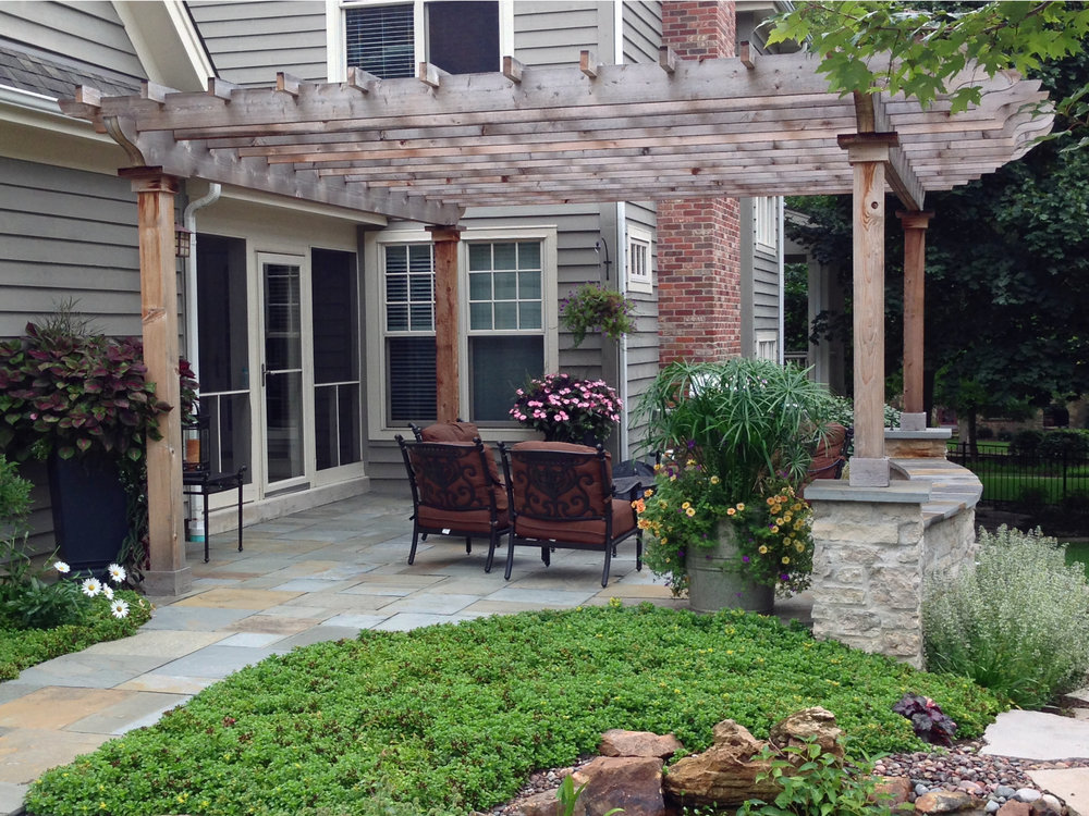 Patio landscape design after renovation in South Elgin, IL