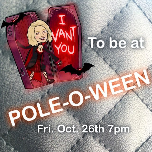 Pole-O-Ween! This Friday @7pm! Games, costumes, candy and most importantly POLE! Drop on by or PM us for more details! #poledance #poledancebrampton #bramptonpole