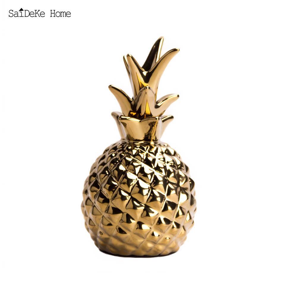 Golden Ceramic pineapple Figurines