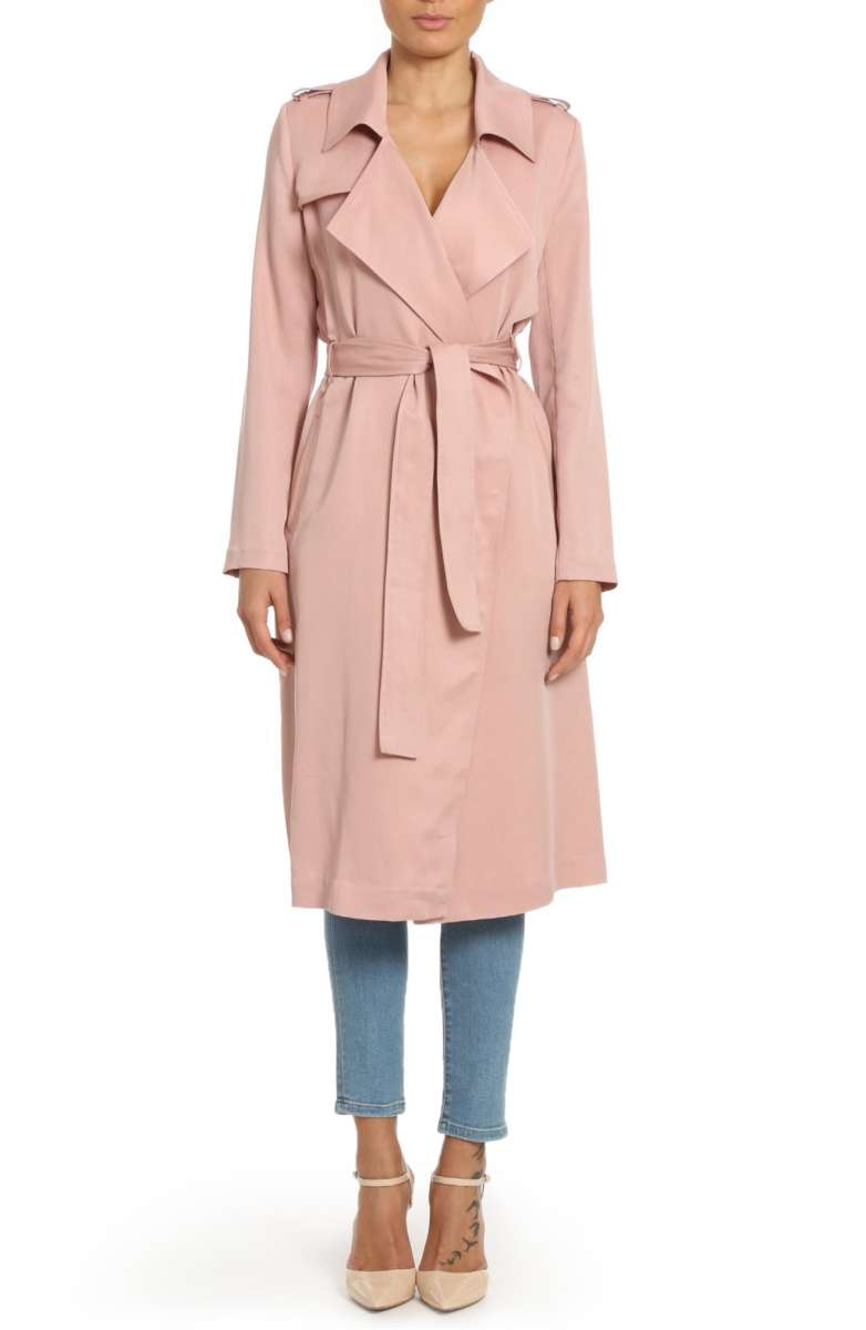 Faux Leather Trim Long Trench Coat - BADGLEY MISCHKA