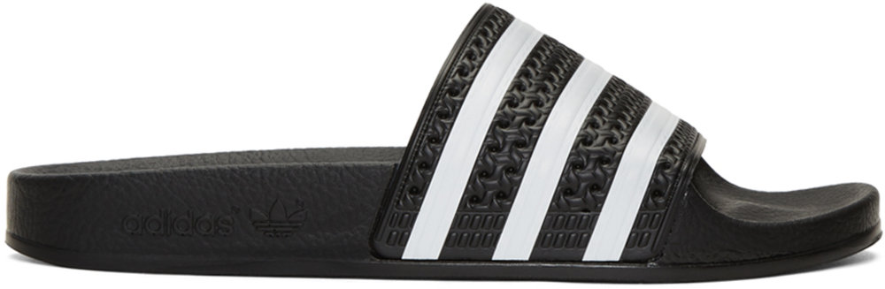 Black Adilette Slide Sandals - ADIDAS