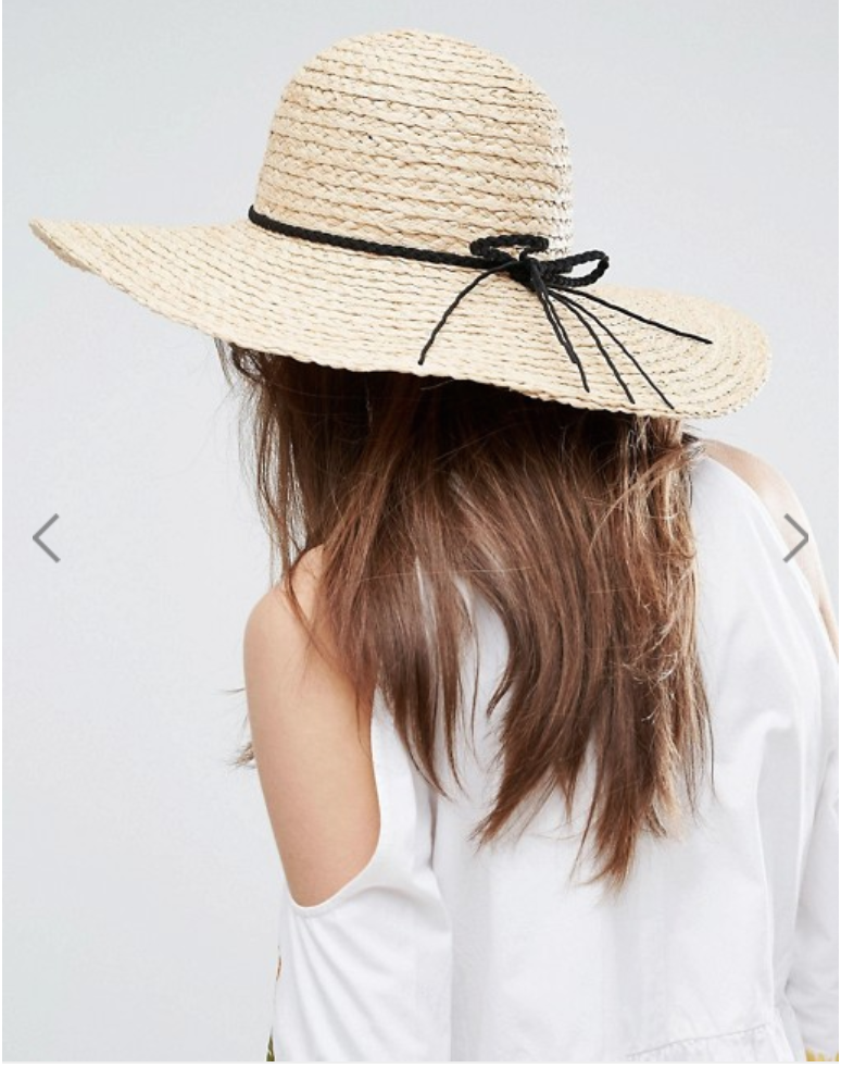 Natural Straw Floppy Hat with Braid Band and Size Adjuster - ASOS