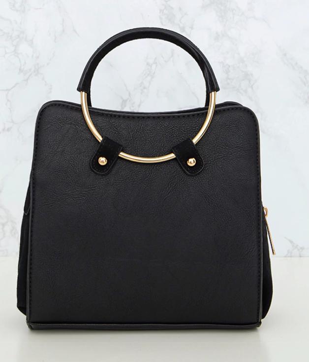 Black Hoop Handle Shoulder Bag - PRETTY LITTLE THING